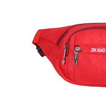 Letter Pattern Nylon Waterproof Waist Bag -  RED