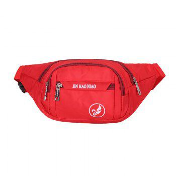 Letter Pattern Nylon Waterproof Waist Bag - RED RED