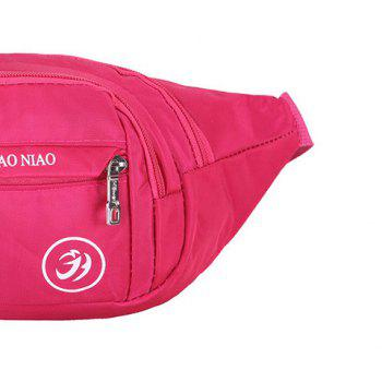 Letter Pattern Nylon Waterproof Waist Bag -  ROSE RED
