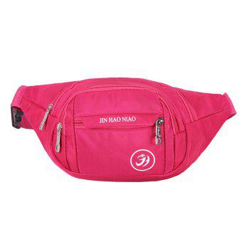 Letter Pattern Nylon Waterproof Waist Bag - ROSE RED ROSE RED
