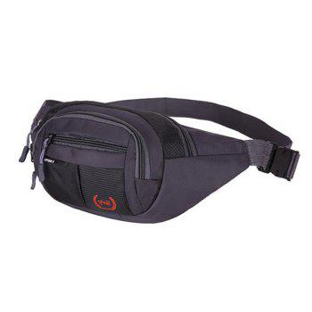 Plaid Nylon Waterproof Waist Bag -  BLACK