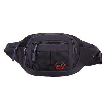 Plaid Nylon Waterproof Waist Bag - BLACK BLACK