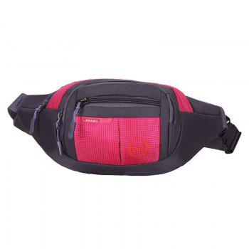 Plaid Nylon Waterproof Waist Bag - ROSE RED ROSE RED