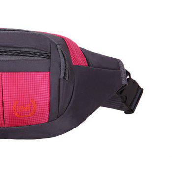 Plaid Nylon Waterproof Waist Bag -  ROSE RED