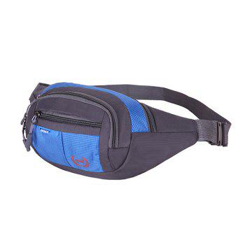 Plaid Nylon Waterproof Waist Bag -  BLUE
