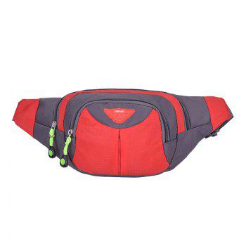 Multipocket Waterproof Nylon Waist Bag - RED RED
