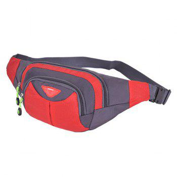 Multipocket Waterproof Nylon Waist Bag -  RED