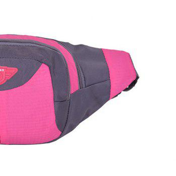 Multipocket Waterproof Nylon Waist Bag -  ROSE RED