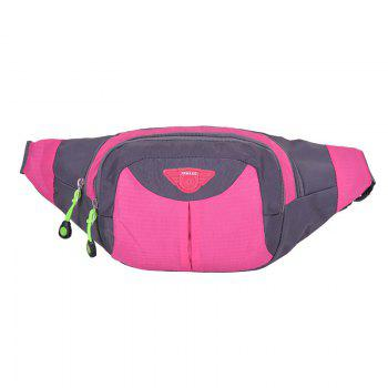 Multipocket Waterproof Nylon Waist Bag - ROSE RED ROSE RED