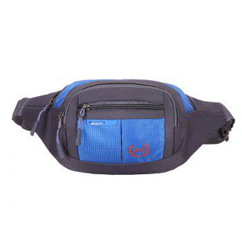 Plaid Nylon Waterproof Waist Bag - BLUE BLUE