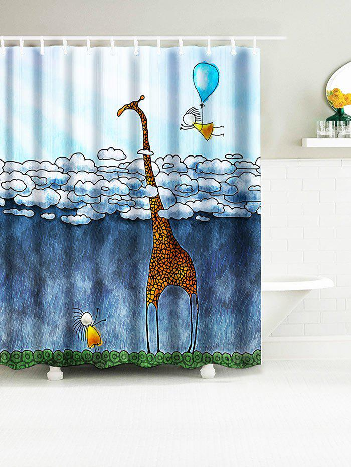 Cartoon Giraffe Balloon Waterproof Fabric Bath Curtain