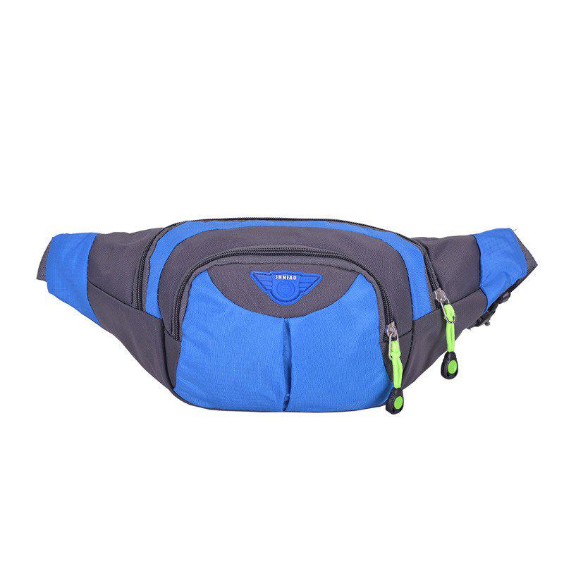 Multipocket Waterproof Nylon Waist Bag - Bleu