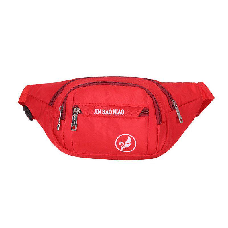 Sac Banane en Nylon Imperméable Motif Inscription - Rouge