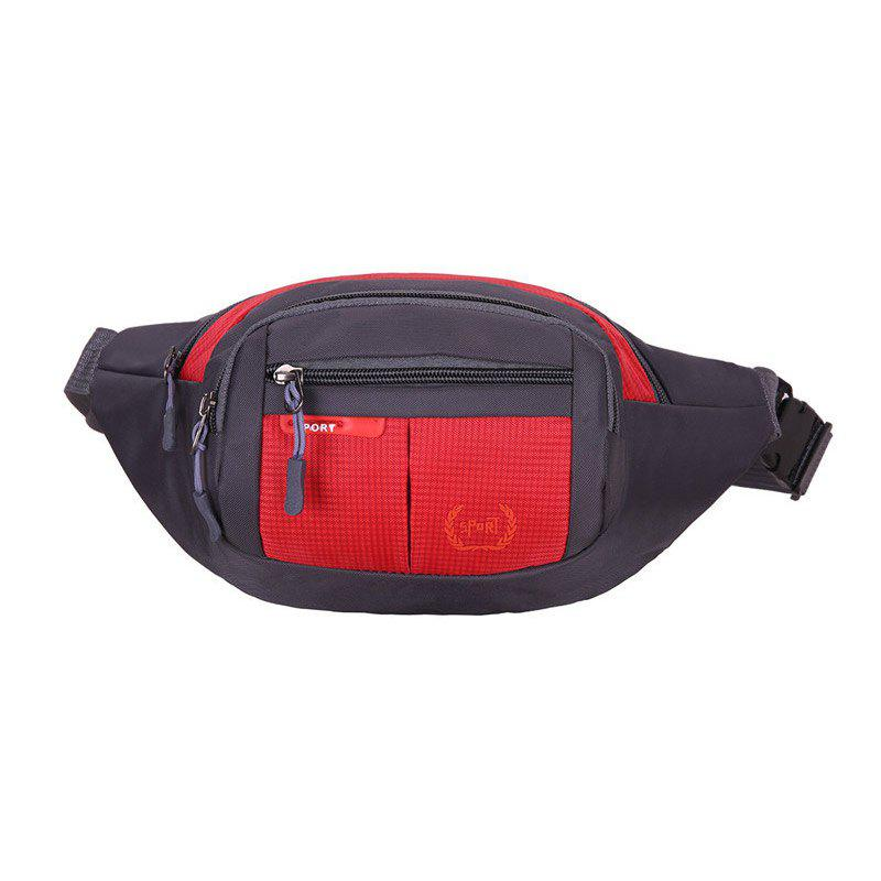 Plaid Nylon Waterproof Waist Bag - RED