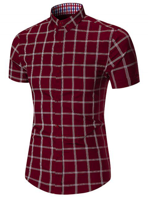 Short Sleeve Checked Button Down Shirt - WINE RED 2XL