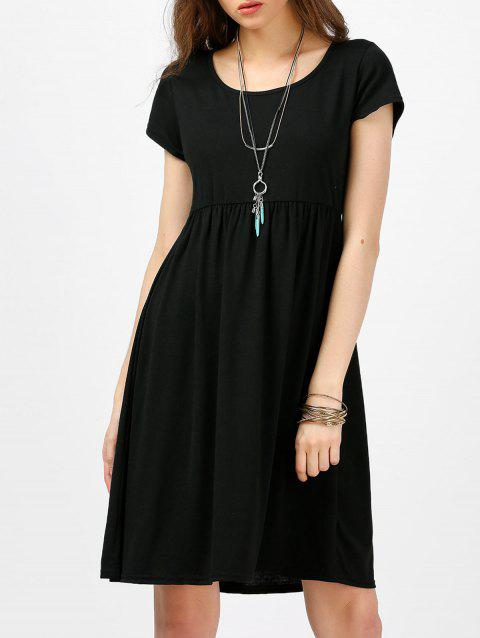 Scoop Neck High Waist Fit and Flare Dress - BLACK M
