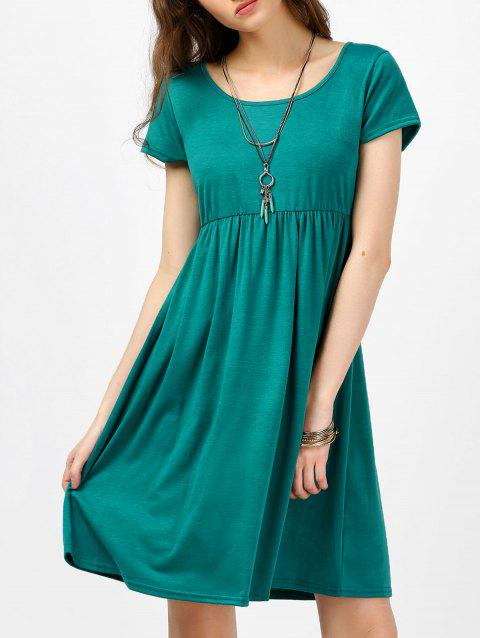 Scoop Neck High Waist Fit and Flare Dress - GREEN L