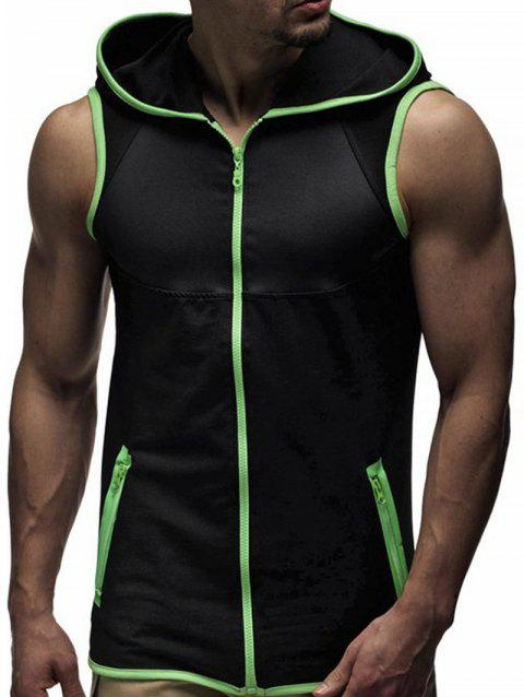 Contrast Trim Zipper Up Hooded Vest - BLACK/GREEN L