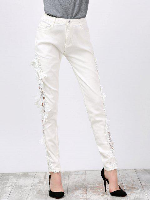 Pantalon skinny denim en dentelle - Blanc 2XL