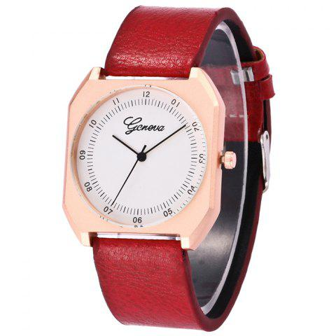 Faux Leather Bnad Number Watch - RED