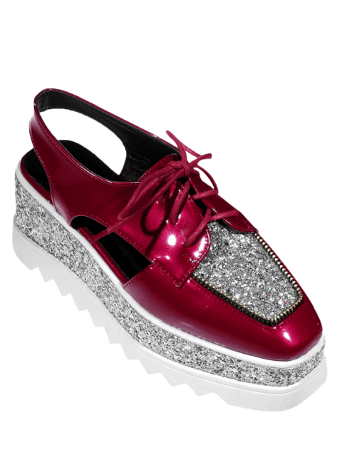 Sequins Lace Up Platform Shoes - DEEP RED 38