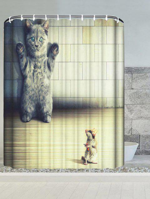 Cat and Mouse Water Resistant Bath Curtain - CANDY BEIGE W59 INCH * L71 INCH
