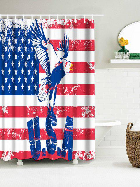 Patriotic American Flag Eagle Waterproof Fabric Shower Curtain