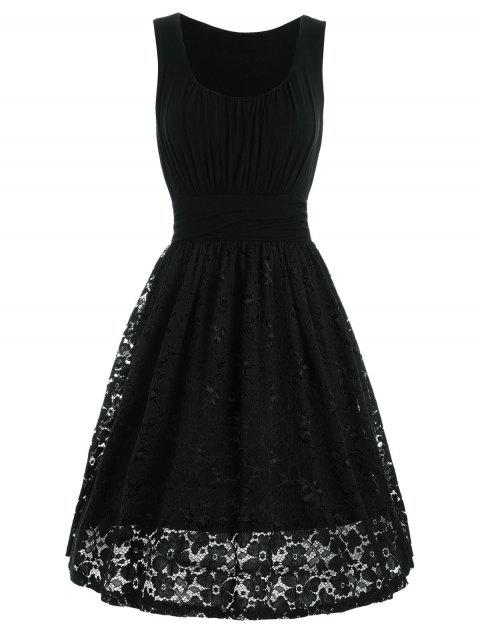 High Waist Drape Lace Panel Dress - BLACK L