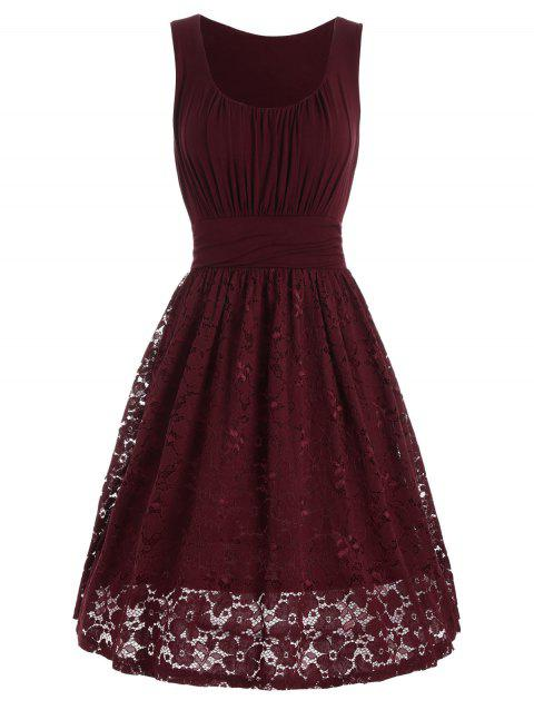 High Waist Drape Lace Panel Dress - WINE RED 2XL