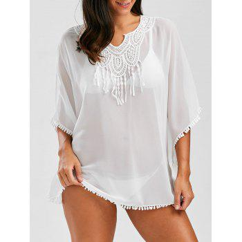 Lace Tassel Panel Chiffon Batwing Cover Up
