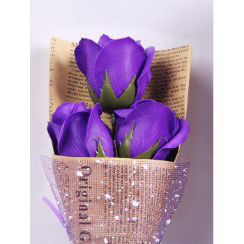 Festival Gift Simulation Rose Soap Flowers with Gift Box - PURPLE