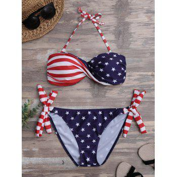 Patriotic American Flag Twist Bandeau Bikini Set