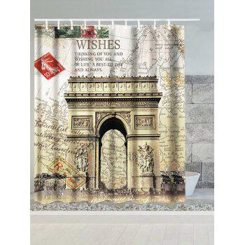 Arch of Triumph France Map Water Resistant Shower Curtain