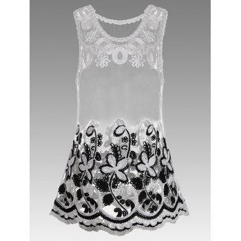 Semi Sheer Floral Embroidered Sleeveless Blouse