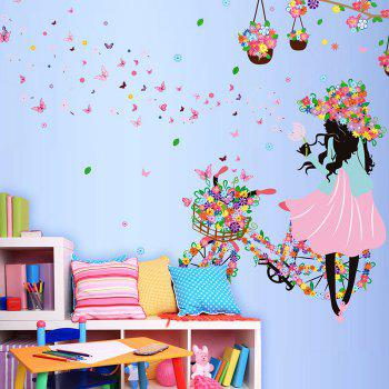 Girl with Floral Bike Wall Stickers
