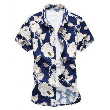 Short Sleeves Flowers Printed Hawaiian Shirt
