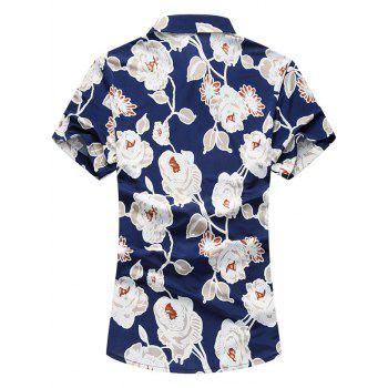 Short Sleeves Flowers Printed Hawaiian Shirt - JACINTH 3XL
