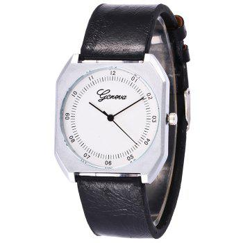 Faux Leather Bnad Number Watch