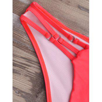 Cut Out Strappy Halter Bikini Set - WATERMELON RED WATERMELON RED