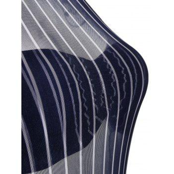 Mesh Sheer Striped Underwire Swimsuit - DEEP BLUE DEEP BLUE