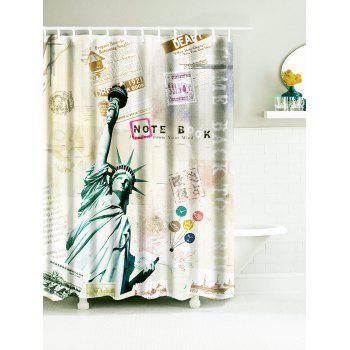 Vintage Statue of Liberty Waterproof Fabric Bath Curtain