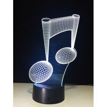 3D Color Change Music Note Touch Night Light -  TRANSPARENT
