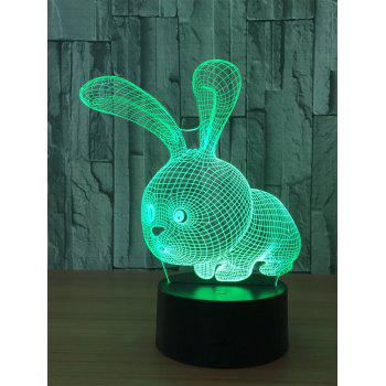 3D Rabbit Color Change Touch Night Light - TRANSPARENT