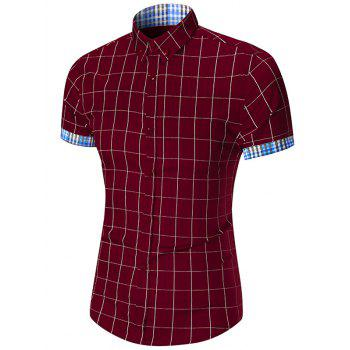 Short Sleeve Button Down Gingham Grid Shirt - WINE RED WINE RED