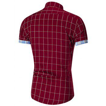 Short Sleeve Button Down Gingham Grid Shirt - WINE RED XL