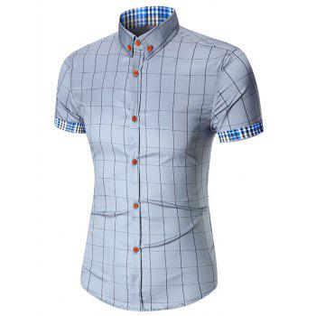 Short Sleeve Button Down Gingham Grid Shirt