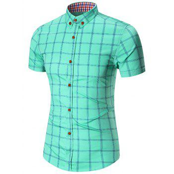 Short Sleeve Checked Button Down Shirt - APPLE GREEN APPLE GREEN