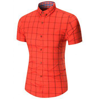 Short Sleeve Checked Button Down Shirt
