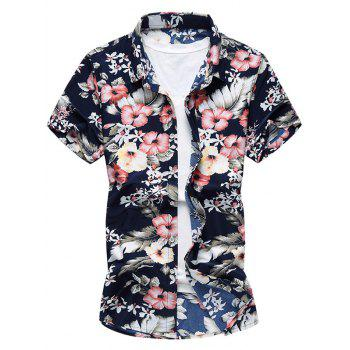 Short Sleeves Flowers Pattern Shirt