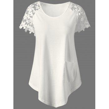 Lace Trim Single Pocket T-Shirt